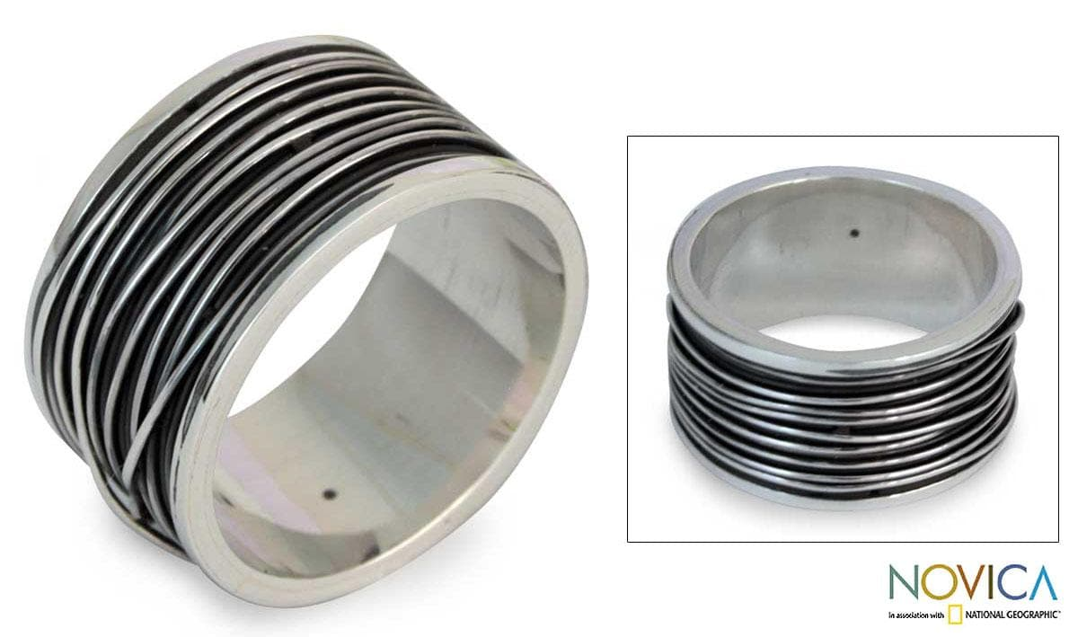 Men's Sterling Silver 'Mezcala River' Band Ring (Mexico)