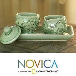 Celadon Ceramic 'Spring Lotus' Sugar Bowl and Creamer Set (Thailand)