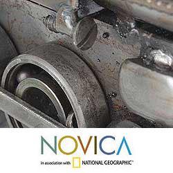 Iron 'Rustic Steam Engine' Sculpture (Mexico)