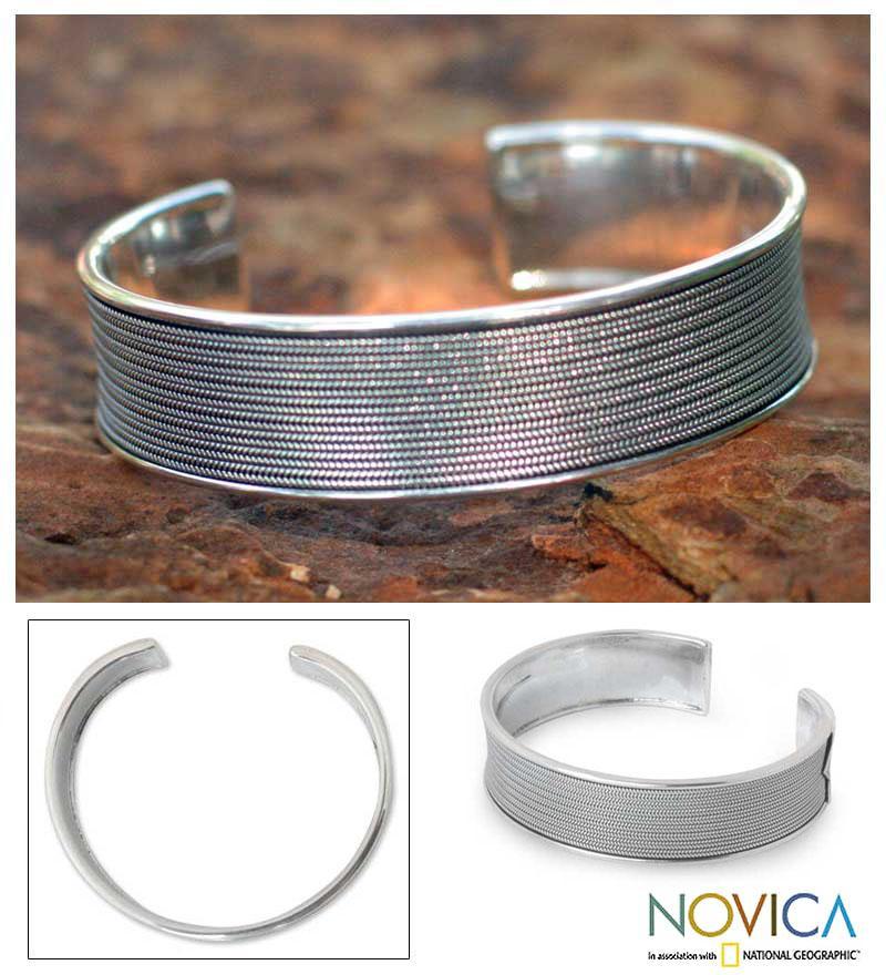 Sterling Silver 'Lanna Elegance' Cuff Bracelet (Thailand)