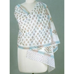 Chanderi Cotton and Silk 'Tropical Paradise' Shawl (India)