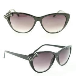 Women's 7070 Black Plastic Cateye Sunglasses