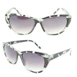 Women's 7071 Black Python Plastic Cateye Sunglasses