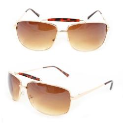 Men's 7073 Gold-Metal Amber-Gradient Navigator Sunglasses