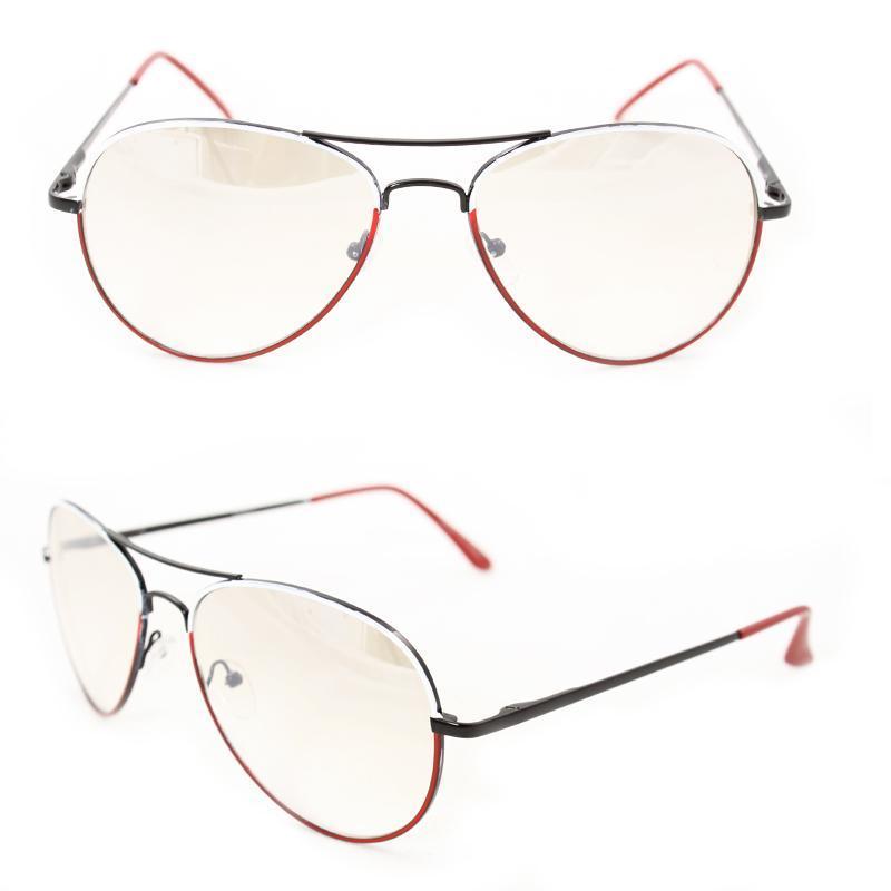 Unisex M09011 Black/ Red Metal Aviator Sunglasses