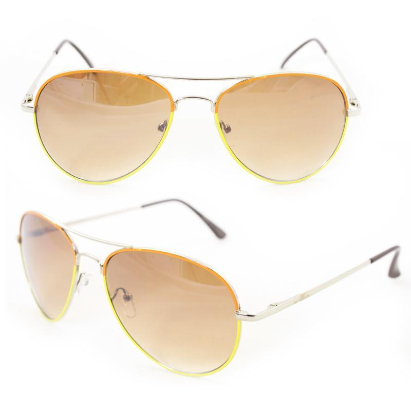 Unisex M09011 Orange/ Yellow Metal Aviator Sunglasses