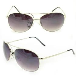 Unisex 25 Silver Metal Aviator Sunglasses