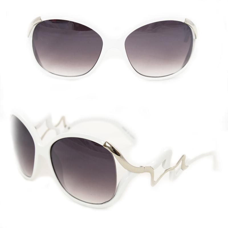 Women's 1147 White Plastic Round Sunglasses
