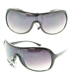 Unisex 592 Purple Gradient Lens Black Plastic Shield Sunglasses