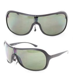 Unisex 592 Black Plastic Shield Sunglasses