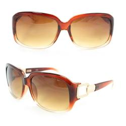 Women's 7075 Brown/ Clear Plastic Square Sunglasses