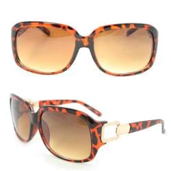 Women's 7075 Brown Python Plastic Square Sunglasses