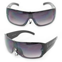 Men's P1490 Black Plastic Wrap Sunglasses