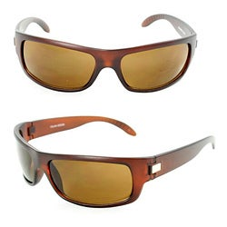 Men's 399 Brown Matte Plastic Wrap Sunglasses