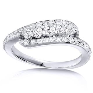 Annello 14k White Gold 5/8ct TDW Curved Diamond Band (H-I, I1-I2)