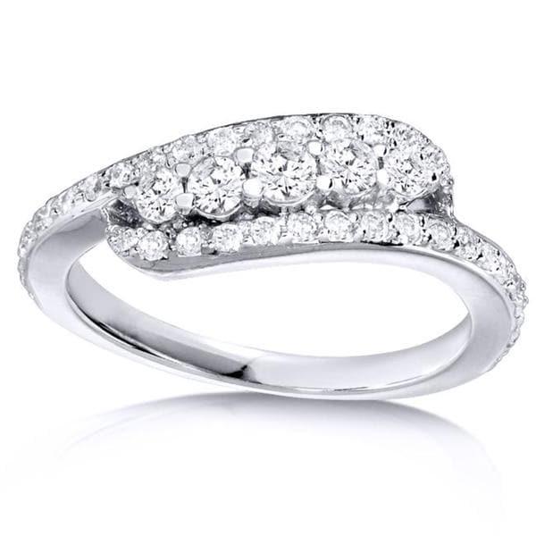 Annello 14k White Gold 5/8ct TDW Curved Diamond Band (H-I, I1-I2)