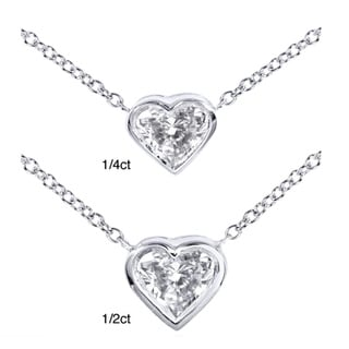 Annello 14k White Gold Diamond Solitaire Heart Necklace (H-I, SI1-SI2)