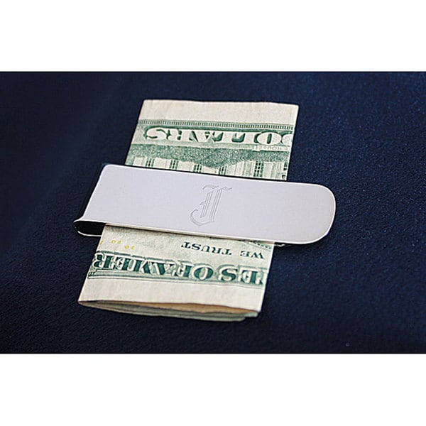 Silver-plated Monogrammed Elongated Money Clip