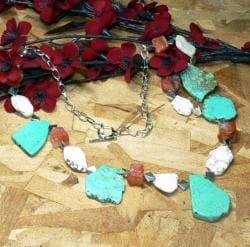 Susen Foster Silverplated 'True Heart' Turquoise/ Carnelian Necklace