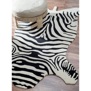 nuLOOM Hand-tufted Animal Shape Zebra Wool Rug (5' x 8')
