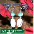Susen Foster Silverplated 'White Blossoms' Turquoise/ Variscite Earrings