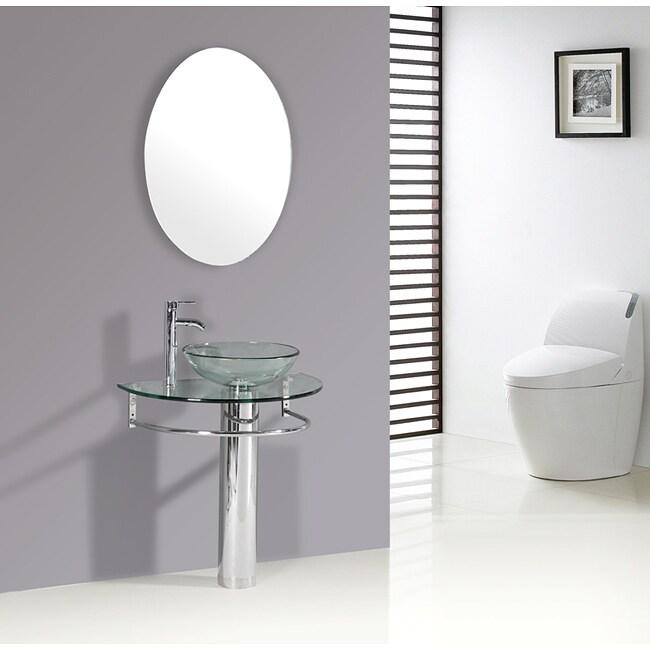 Kokols Clear Vessel Sink Pedestal Bathroom Vanity