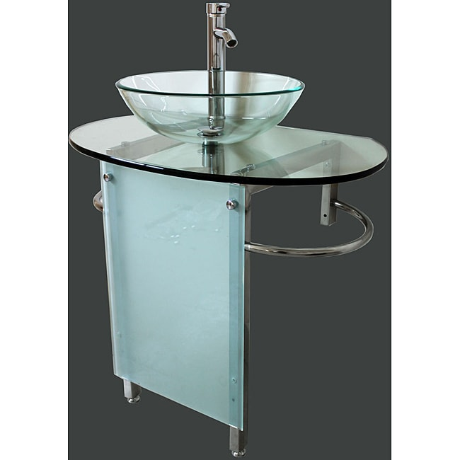 ... Bathroom Vanity Pedestal and Frosted Glass Vessel Sink Combo Set