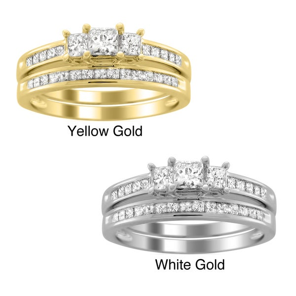 Brides Across America 14k Gold 1ct TDW Princess-cut Diamond Bridal Ring Set (H-I, I1-I2)