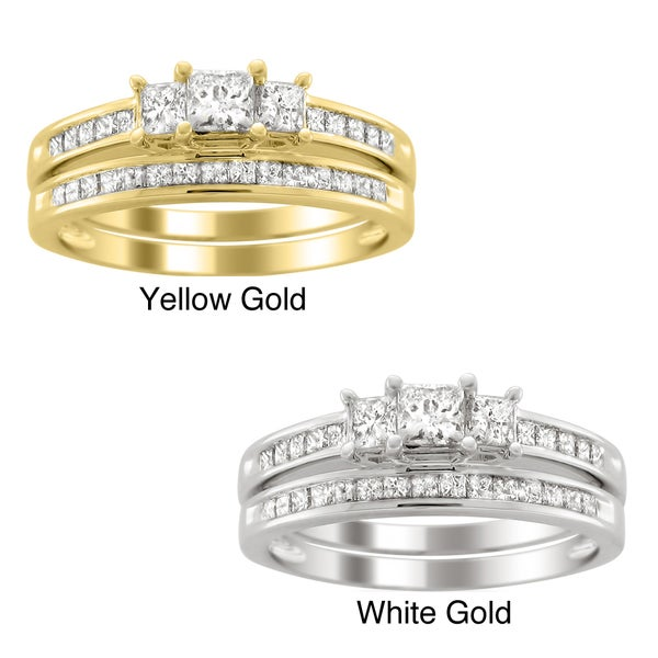 Montebello 14k Gold 1 1/2ct TDW Three Stone Diamond Bridal Ring Set (H-I, I1-I2)
