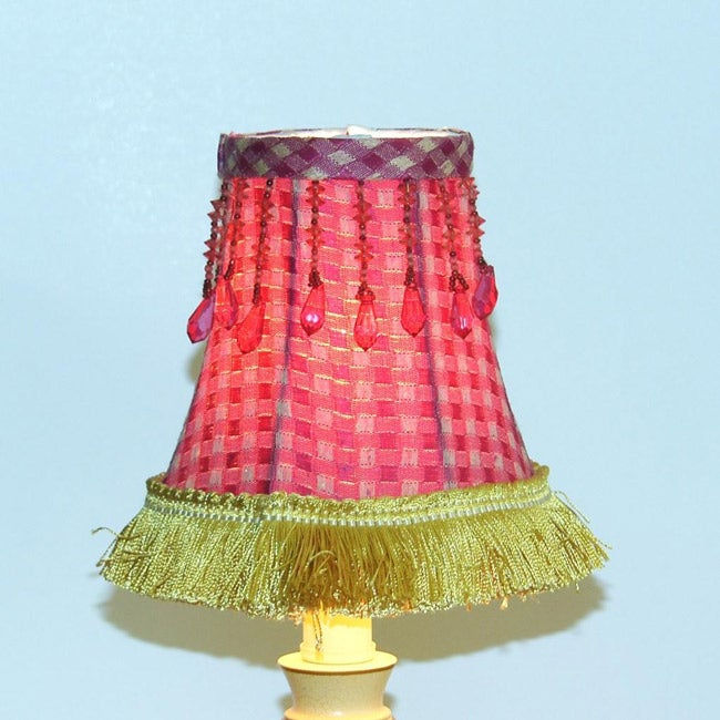Red Plaid Chandelier Mini Shades (Set of 2)