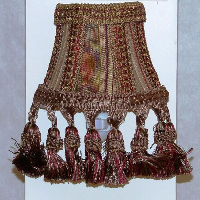 Brown Tapestry Silk Shade Nightlights (Set of 2)