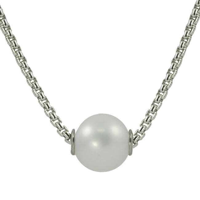 Pearls For You Sterling Silver White Freshwater Pearl Solitaire Necklace (9-10 mm)