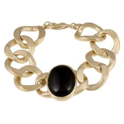 Rivka Friedman 18k Goldplated Onyx Station Curb Link Bracelet