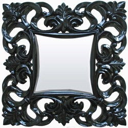 Floral Square Glossy Black Resin Mirror