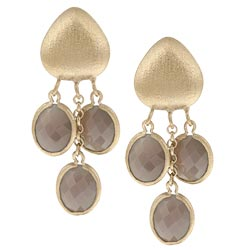 Rivka Friedman 18k Goldplated Grey Chalcedony Dangle Earrings