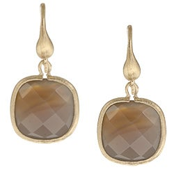 Rivka Friedman 18k Goldplated Brass Grey Chalcedony Dangle Earrings