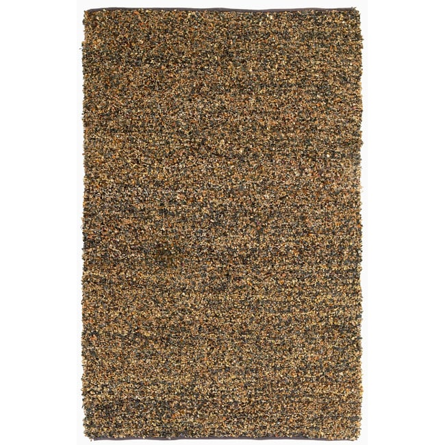 Hand-tied Pelle Brown Leather Short Shag Rug (4' x 6')