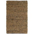 Hand-tied Pelle Brown Leather Short Shag Rug (8' x 10')
