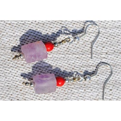 Silver Kanzite and Red Jasper Earrings (Afghanistan)