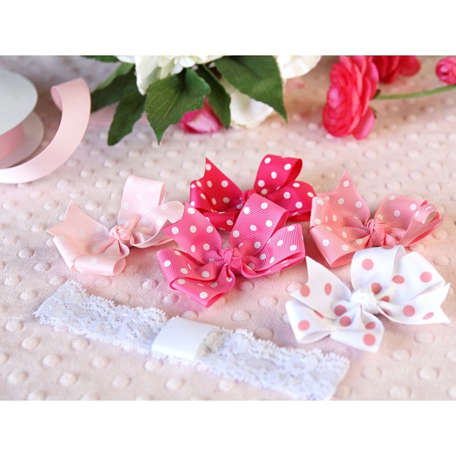 Pink 6-piece Headband and Bows Set
