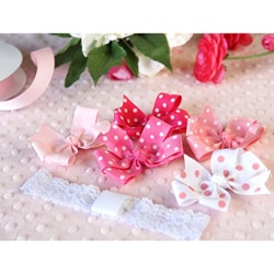 Pink 6-piece Headband and Bows Set