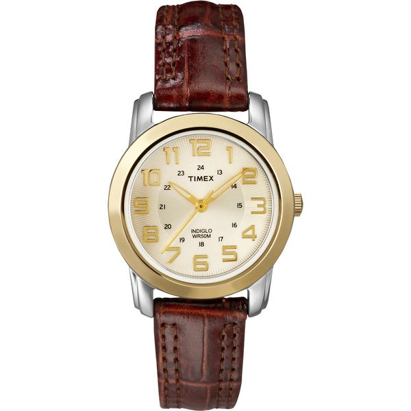 Timex Women's T2N436 Elevated Classics Sport Chic Leather Strap Watch