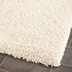 Cozy Solid Ivory Shag Rug (4' x 6')