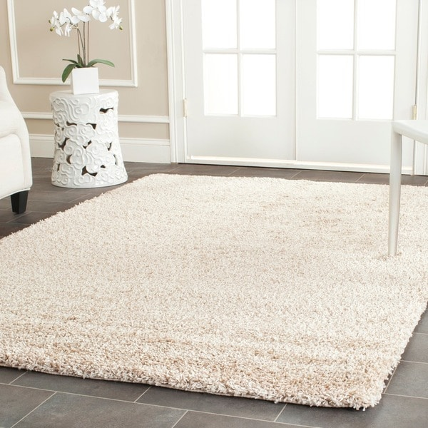 Safavieh california cozy solid beige shag rug 8 39 x 10 for Living room rugs 9x12
