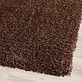 Cozy Solid Brown Shag Rug (5'3 x 7'6)