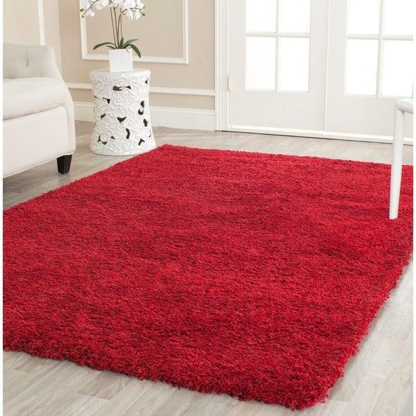 Safavieh Cozy Solid Red Shag Rug (5'3 x 7'6)
