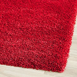 Cozy Solid Red Shag Rug (5'3 x 7'6)