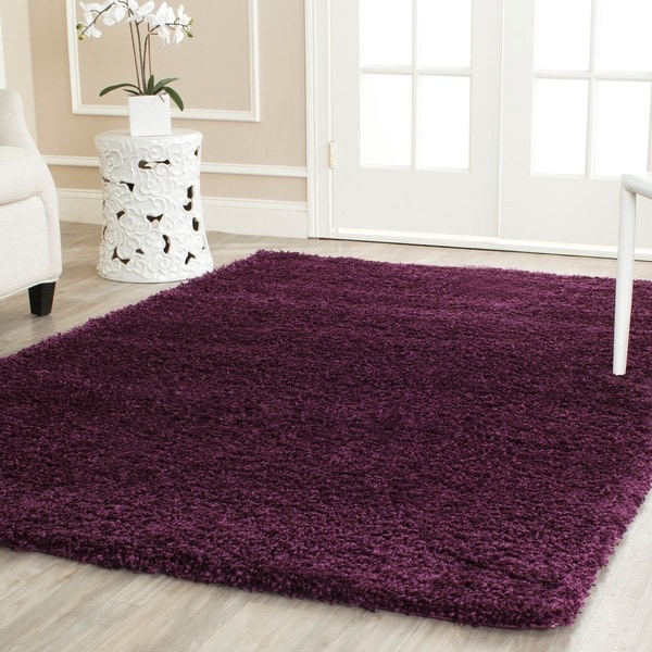 Safavieh California Cozy Solid Purple Shag Rug (4' x 6')