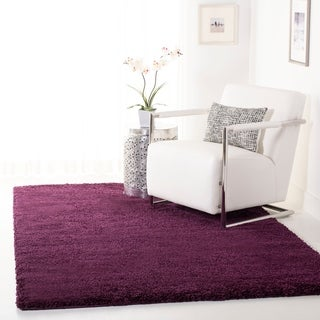 Cozy Solid Purple Shag Rug (5'3 x 7'6)