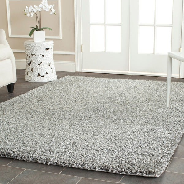 Safavieh california cozy solid silver shag rug 8 39 x 10 for 10x14 bedroom